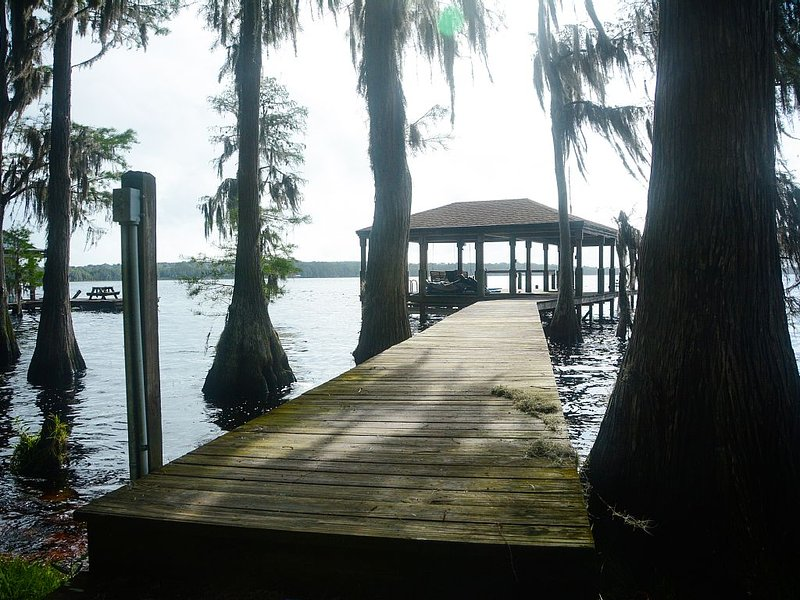 Secluded lake front home with dock on Lake Louisa only 22 miles from Disney!, vacation rental in Clermont
