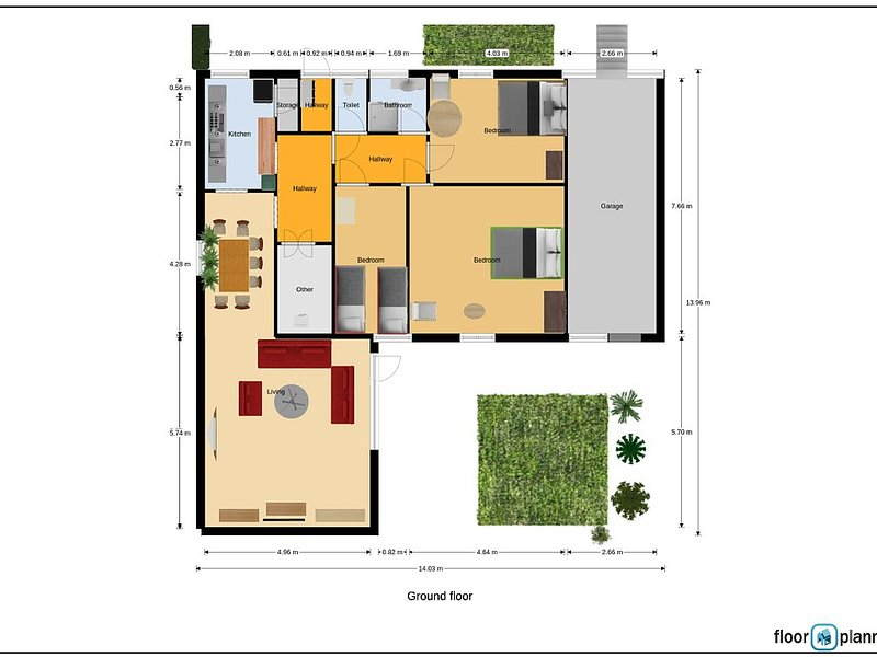 Apartment floor plan layout . Main Entrance from the Northern small Hallway.