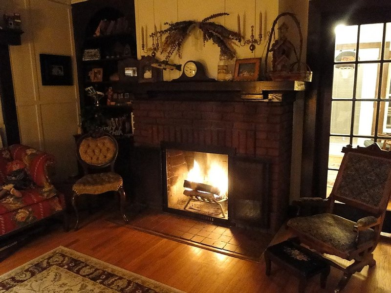 Fireplace in living room entry.