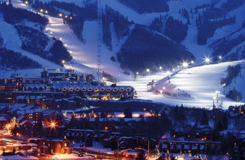 Historic Main Street Park City with views of Park City Ski Resort