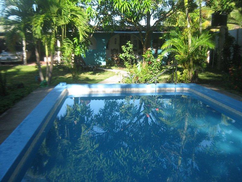 Pool facing the main house