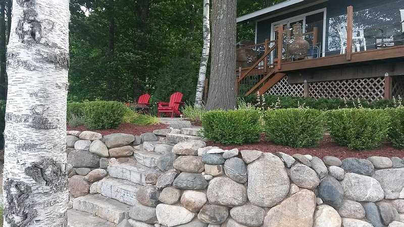 Steps from apartment to patio and firepit.