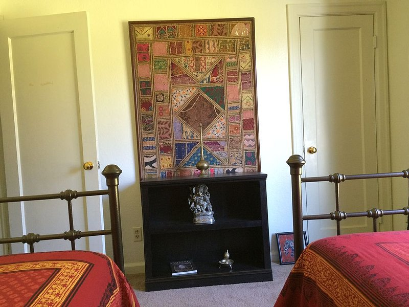 Twin room with items from India