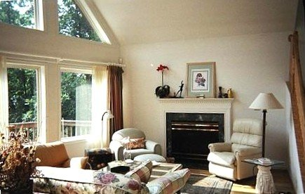 Double Height Living Room,  Picture Windows & Gas Fireplace