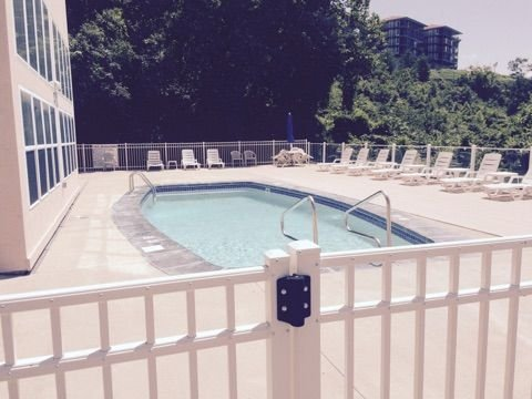 Lake side pool/club house.