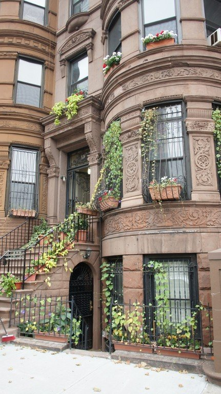 Historic brownstone dates from 1897. The owners are in residence in the house.
