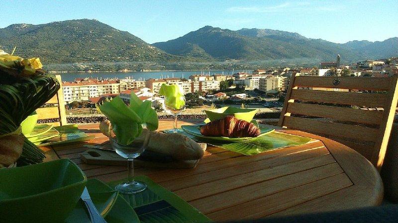 Appartement spacieux, avec belle vue sur le Golfe de Propriano et le village., vacation rental in Propriano
