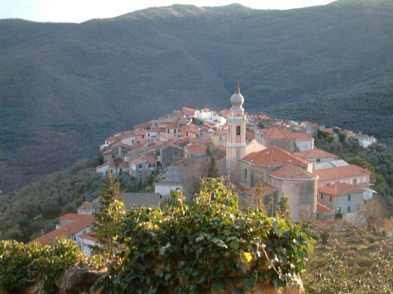 Casa di campagna con terrazza solarium vista mozzafiato su colline e Alpi, holiday rental in Borgomaro