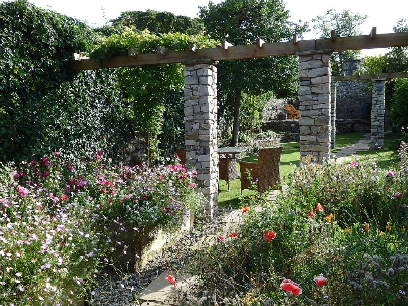 The main garden, looking back towards the cottage, September
