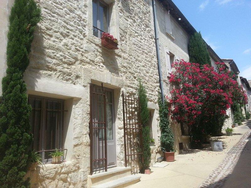 Très jolie maison, centre village, terrasse avec  belle vue sur Palais des Papes, holiday rental in Villeneuve-les-Avignon