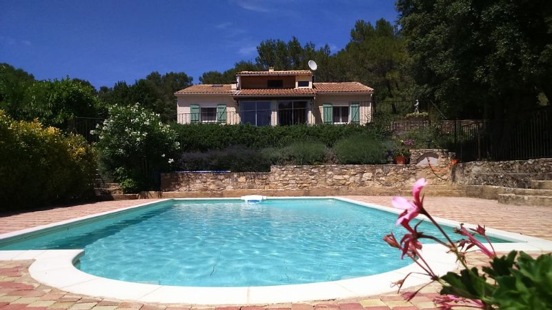 Villa, fenced private pool, heart of hills, Provence, large covered barbecue, holiday rental in Venejan
