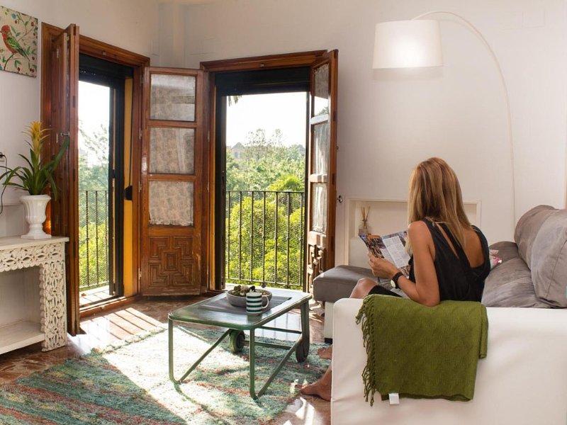 PRECIOSO APARTAMENTO 2 DORMITORIOS EN EL BARRIO SANTA CRUZ CON VISTAS AL JARDÍN, holiday rental in Lora del Rio