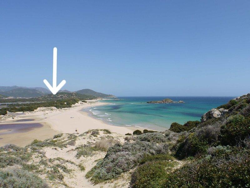 Vista Mare su Monte Cogoni. 2 matrimoniali, 2 bagni, parcheggio. Biglietti nave, casa vacanza a Domus de Maria
