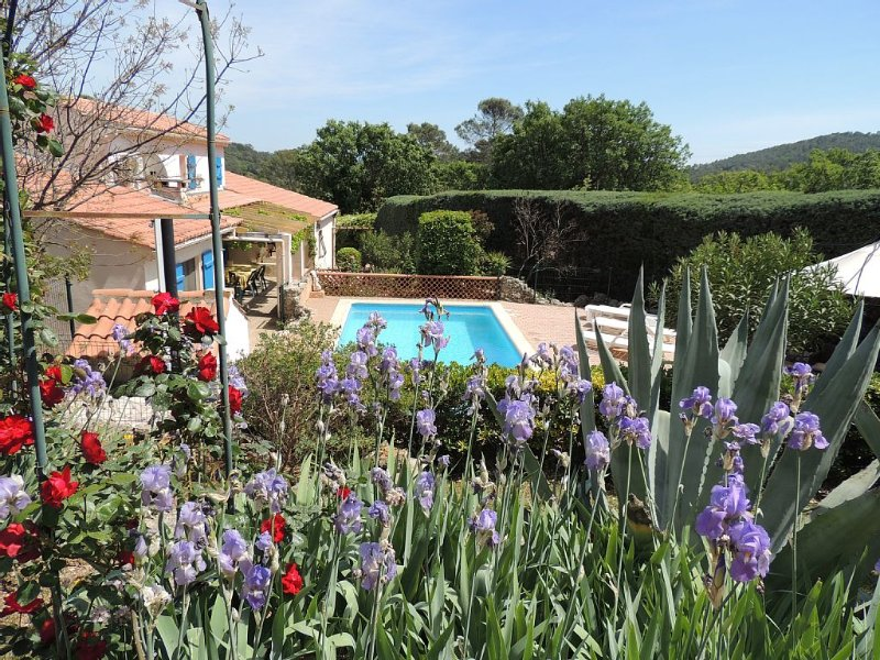 Spacious air-conditioned villa with private pool and enclosed gardens, location de vacances à Le Luc