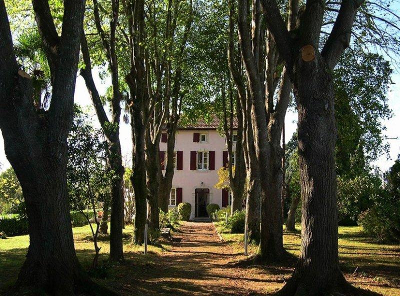 Frz. Herrenhaus über dem Tal des Adour; Südterrasse mit Blick auf die Pyrenäen, holiday rental in Bidache
