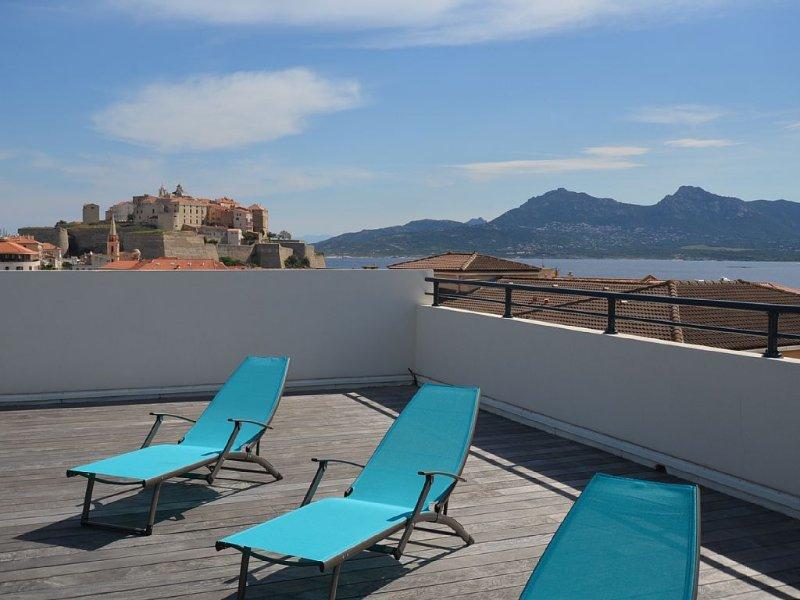 Appartement spacieux avec terrasse et vue unique sur la baie à 3 minutes plage, vakantiewoning in Calvi