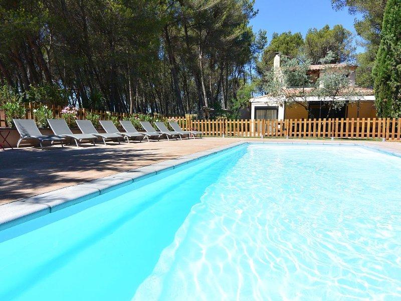 Mas provençal climatisé avec jardin, piscine chauffée, entre Alpilles et Lubéron, holiday rental in Orgon