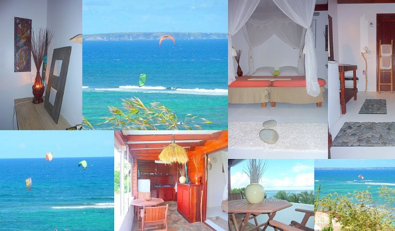 Location de charme à Le Moule, bord de mer, accès plage,vue mer 180°, Le Moule, location de vacances à Le Moule