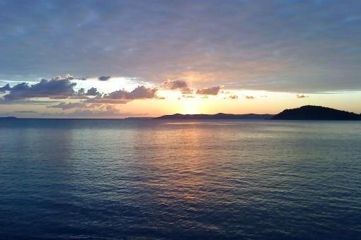 coucher de soleil à la plage de Brégançon