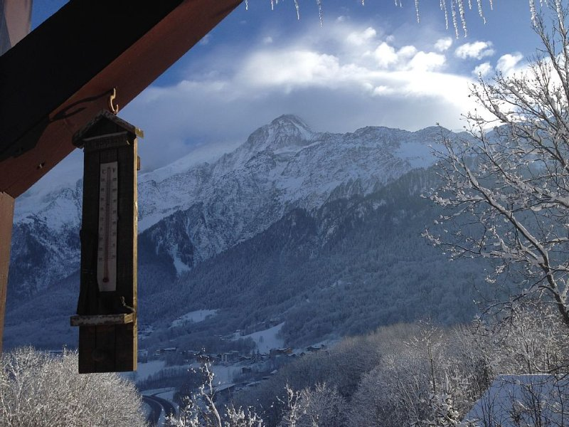 Quiet duplex, ideal for 2-4p, 350m from Prarion magnificent view of Mont Blan, holiday rental in Chamonix