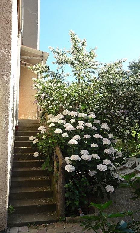 Escalier d'accès en juillet
