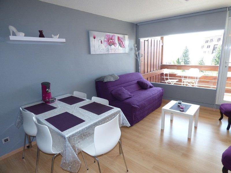 Alpe d'Huez, studio cosy rénové, orienté plein sud, au pied des pistes, vacation rental in L'Alpe-d'Huez