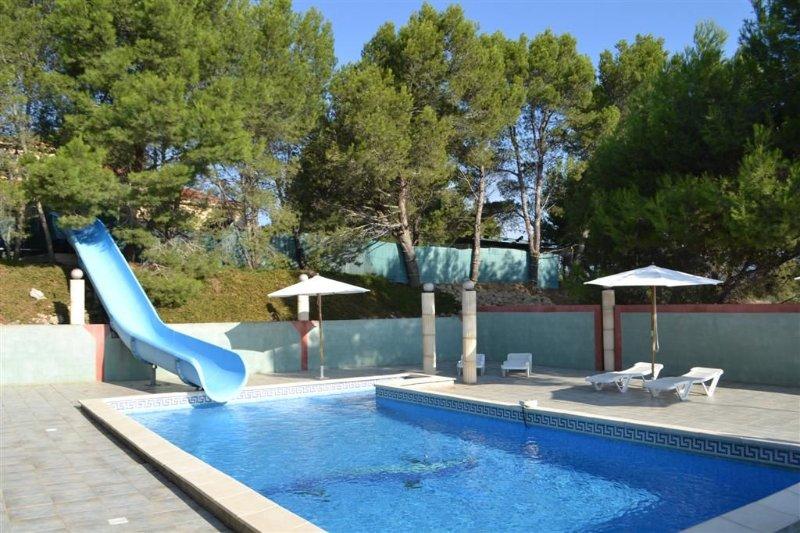 Villa ,toboggan , piscine ,cuisine d été, terrain de Tennis,basket, trempoling, holiday rental in Saint-Marcel-sur-Aude
