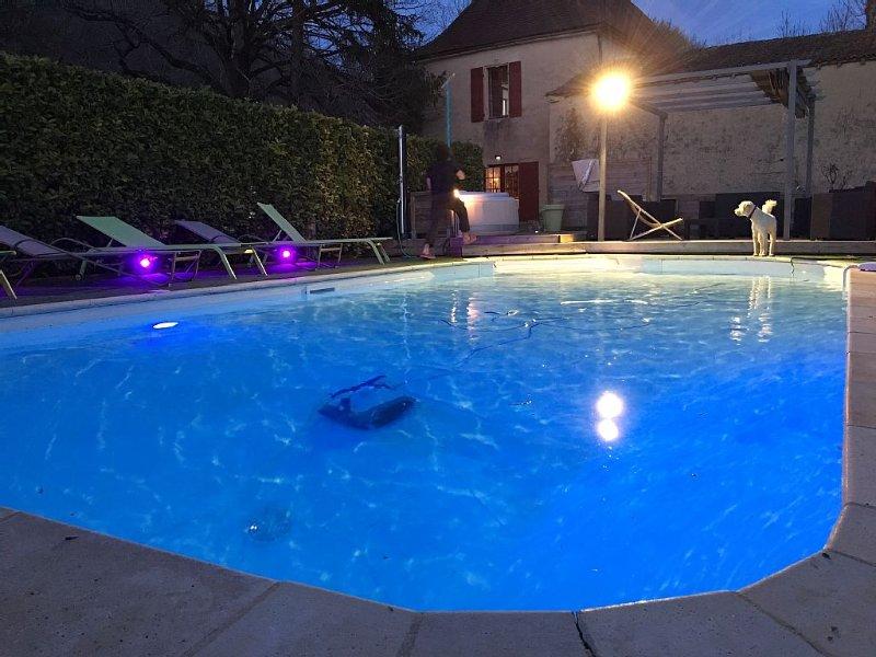 Moulin en Pierre du 18ème avec piscine privée chauffée, spa, sauna, hammam., holiday rental in Pontours