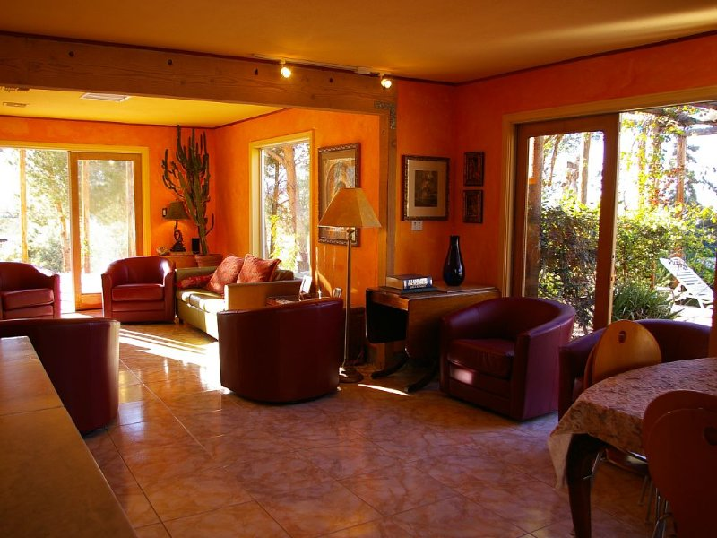 Living room, with 4 French doors opening upon North and West terraces.
