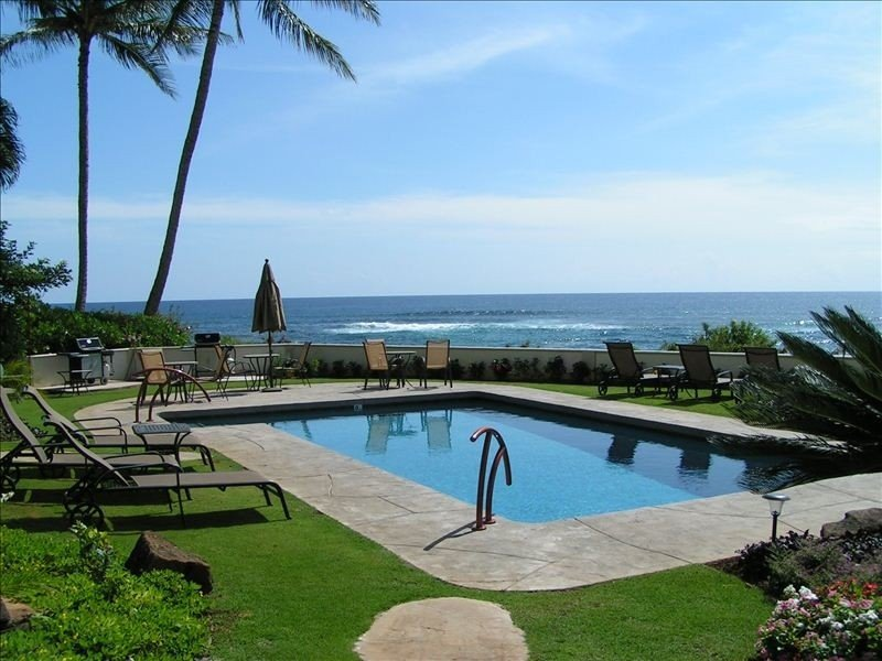 Enjoy our brand new pool overlooking the ocean just steps from our lanai