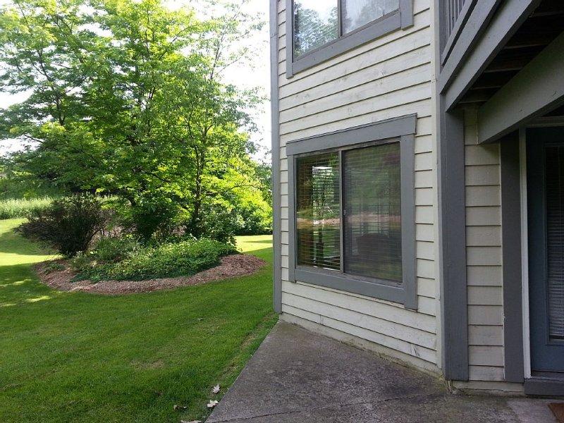 Patio at back door in summer
