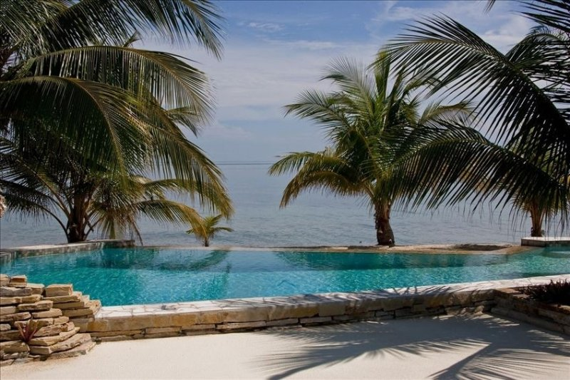 View from 1A of private plunge pool and Caribbean Sea.