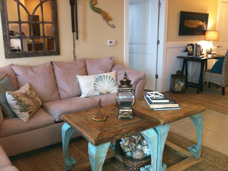Spacious living area with queen sleeper sofa