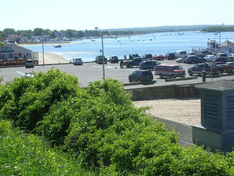 a view from the bluffs of the pier, beach & one of the many     restaurants