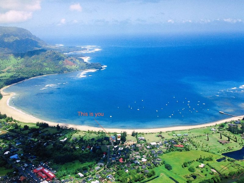 Cottage on Beachfront Estate property, central Hanalei Bay, vacation rental in Wainiha