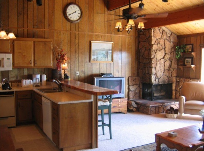 The great room has vaulted ceilings, a flat screen TV & custom stone fireplace.