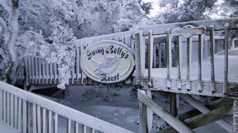Snow at Swing Belly's -- partial view of the handicapped ramp