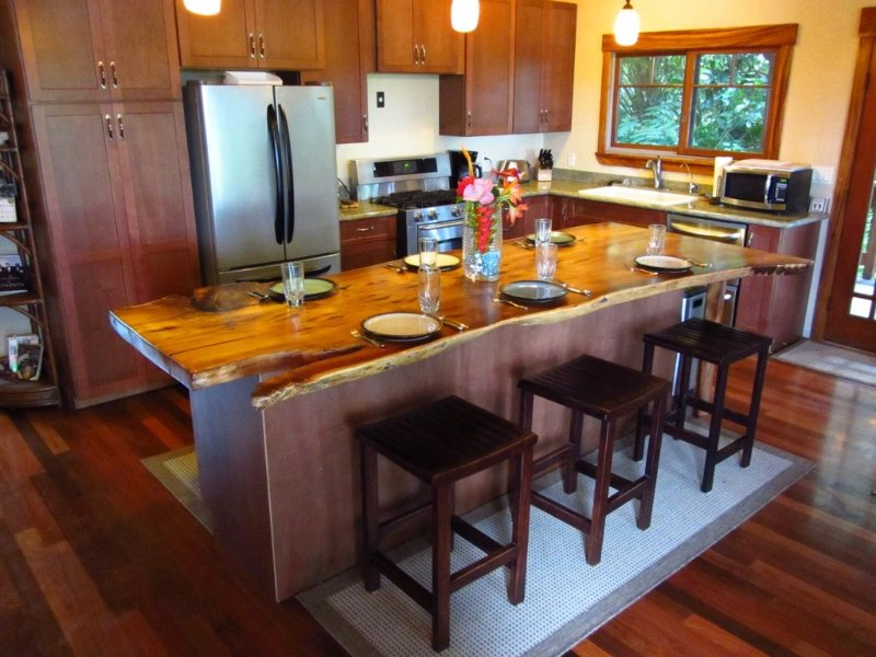 The Kitchen Featuring an Impressive 9 Foot Solid Koa-Slab Island(3)
