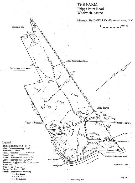 Map of the property with trails and points of interest