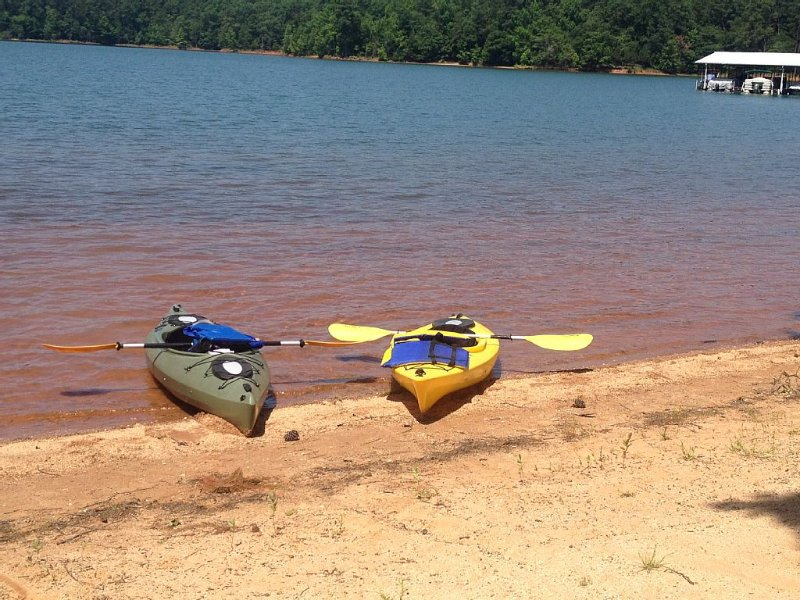 Two kayaks available at no cost. One is equipped for a fishing pole and bait.