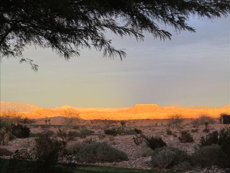 View of a golden mesa near Del Webb's golf course in Sun City, Mesquite