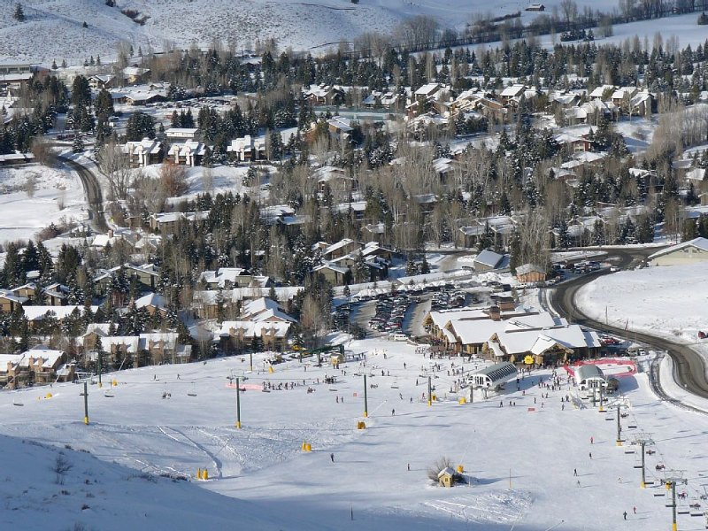From top of Dollar - Carol's on right and Snow Creek below; great for ski school