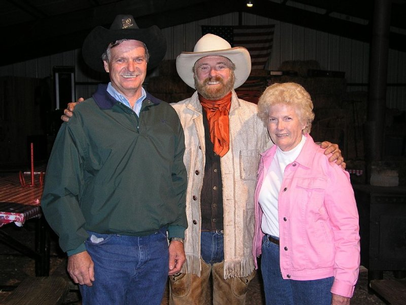 Michael Martin Murphey in center after singing at Cowboy Evening, that's us too!