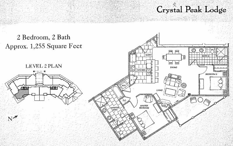 Our floor plan and location within Crystal Peak Lodge.