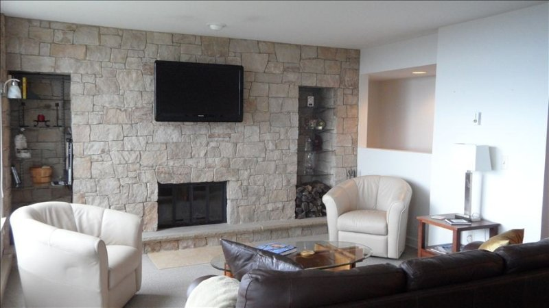 Living area on main level with new stone wall around fireplace & flat-screen TV.