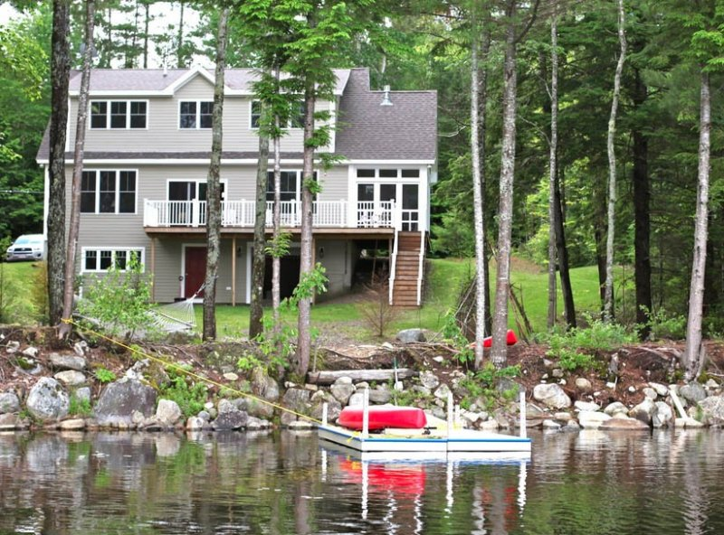 Washington Pond Lake in Midcoast Maine, 3 story house, brand new, lakefront, holiday rental in Union