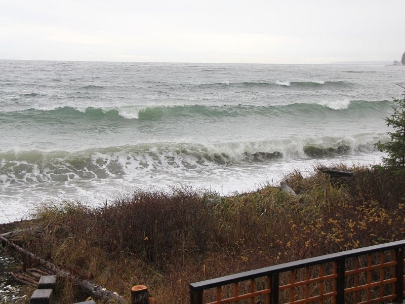 Feel and hear the pounding of the crashing waves during a winter storm.