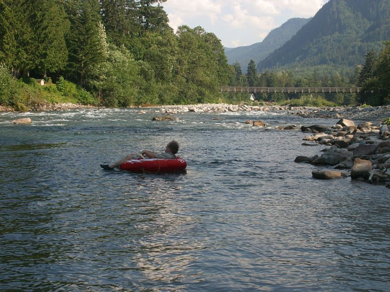 Best Cabin Value Right On The Skykomish River | Dogs Welcomed | View Hot Tub, alquiler vacacional en Baring