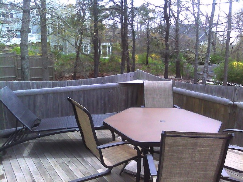 The deck in Spring - a lounge chair and table that seats 6 (w/an umbrella, too).