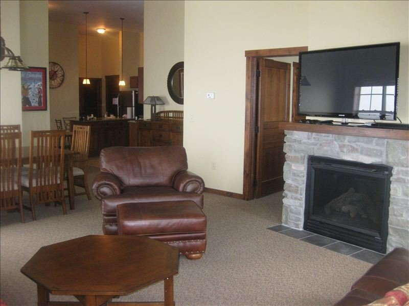 """Living area with gas fire & 51"""" 3DHD flat screen, Netflix and movie library"""